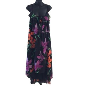 Lane Bryant Black Floral High Low Dress